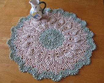 New hand-crocheted ecru/light green doily doilie