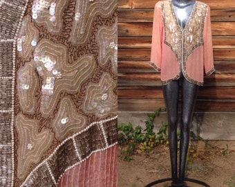 Vintage Light Pink and Tan Gorgeous Sequined Silk Blouse Size Large 1980's Boho High Fashion
