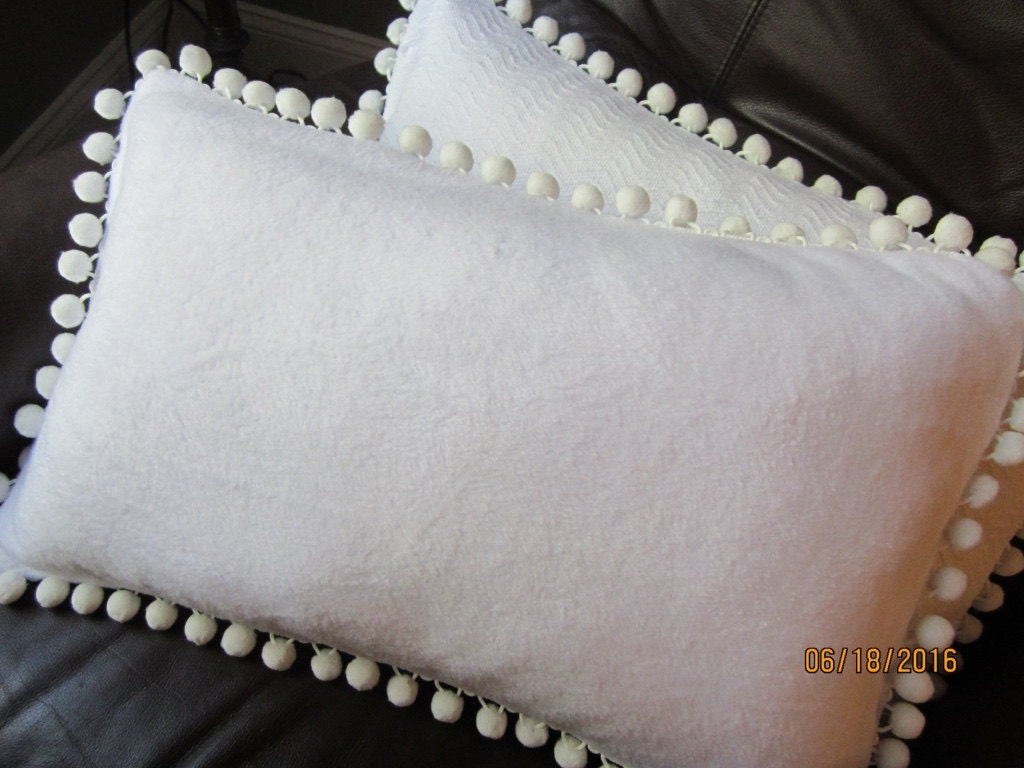 Large Off White Throw Pillows: Soft White Fleece Lumbar Throw Pillow With White Pompom Trim