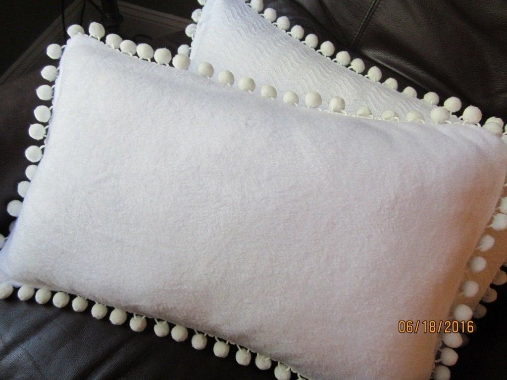 Soft White Fleece Lumbar Throw Pillow With White Pompom Trim
