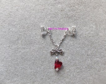 Non pierced clit labia jewelry with red heart and swarovski crystals, fetish, BDSM, erotic, burlesque, punk, goth, sexy