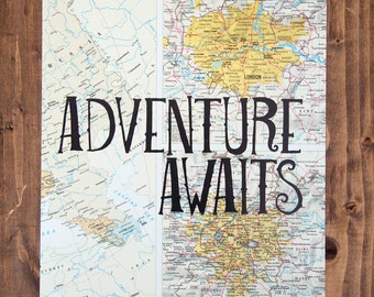 "London and Paris Map Print, Adventure Awaits, Great Travel Gift, 8"" x 10"" Letterpress Print"