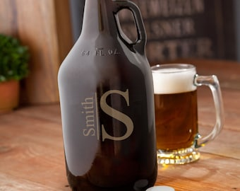 Personalized Amber Beer Growler - Monogrammed Beer Growler - 64 oz. Amber Glass Growler - Groomsmen Gifts - Gifts for Him - GC1468
