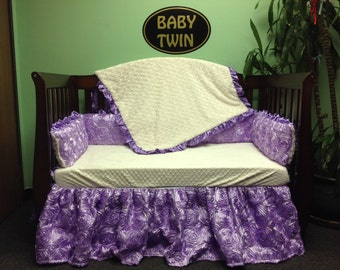 "4 pc Standard Crib Bedding Set ""Purple Rosette"""