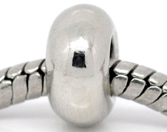 Ten Silver Plated Bead Charm Spacers for European Snake Chain Bracelets