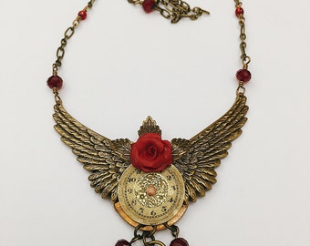 Handmade Jewelry, Brass Wing and Red Rose Vintage Watchface Steampunk Necklace