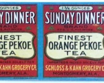 Sunday Dinner Brand Orange Pekoe Tea Unused Vintage Label Schloss & Kahn Grocery Co. Montgomery, Alabama