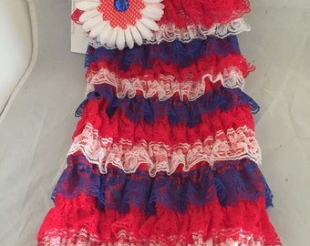 Ruffled romper red white and blue 24mn-3t