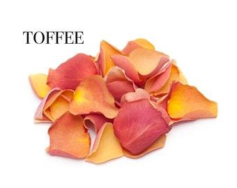 Freeze dried Burnt orange wedding confetti Rose petals, Natural biodegradable confetti  1 litre (Toffee)