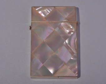 Mother-Of-Pearl Victorian Visiting Card Case With A Velvet Lining (914f)