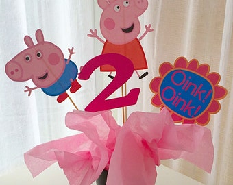 4 Piece Peppa Pig Centerpiece, Peppa Centerpiece, Peppa Pig Birthday Decor, Cake Topper, Peppa Birthday Decor