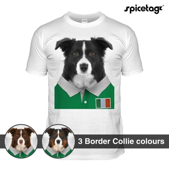 Ireland rugby border collie t shirt irish nations tshirt dog for Custom dog face t shirt