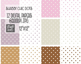 Shabby Chic Dots // Polka Dot Digital Paper // Instant Download // Commercial Use
