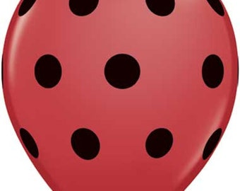 Red Balloon with Black Polka Dots