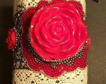 Bead embroidered red rose cuff bracelet