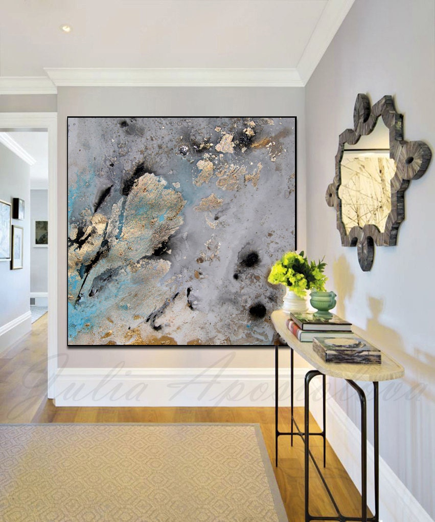 45inch gold leaf print of original watercolor painting for Gold paintings on canvas