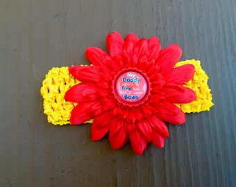 Fireman Daddy hair bow. Firefighter father. Parents fireman. Babies infants flower or bow headband. Red, yellow, orange