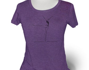 "Womens Purple Dance T-Shirt. ""Piqué to Arabesque"". For ballet, jazz, contemporary class or rehearsal."