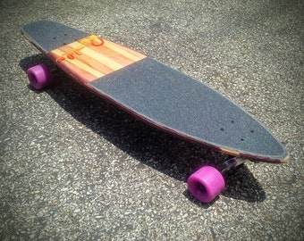 The Snapper XL - Red Wine Stripes Custom Longboard - Complete Vintage Style Skateboard with Trucks and Wheels