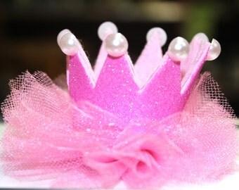 Birthday crown hair clip Newborn Pink hair clip Princess hair clip Toddler girl hair clip Girls birthday gift Girls hair accessories