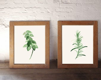 Basil Painting and Rosemary Painting, Set of 2 Watercolor Prints, Herbs Wall Decor, Kitchen Sign Home Garden