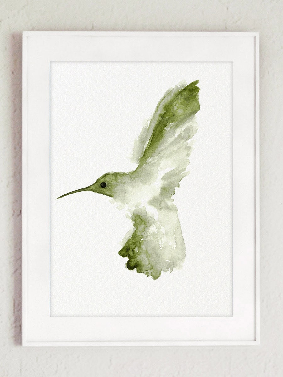 Hummingbird art print green wall decor abstract bird kids for Hummingbird decor