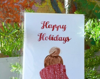 Happy Holidays Red Holiday Sweater Card