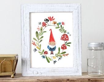 Gnome Print -  Print of Watercolour Illustration