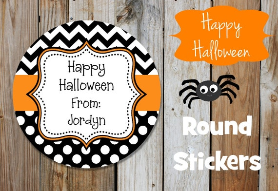 Halloween Stickers -  Chevron Stickers  - Set of 12 Round Labels - Orange and Black - Dots
