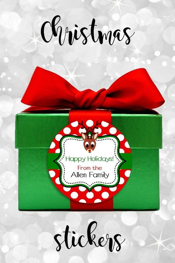 Reindeer Stickers - Christmas Reindeer - Round Labels - Gift Tags - Reindeer Gift Tags