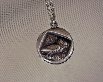 Greek Owl & Goddess Athena Ancient Coin Reversible Necklace Pendant