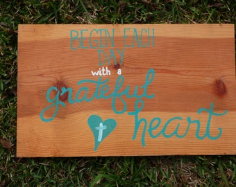 Hand Painted Wooden Sign: Grateful Heart