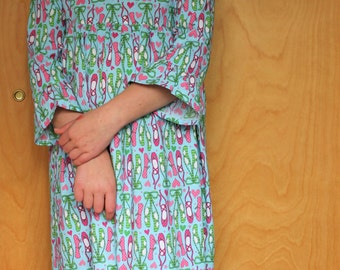 Girls Night Gown, Ballet Slippers Gown, Loose Fitting,  Long Gown, Handmade, Size 10-12.