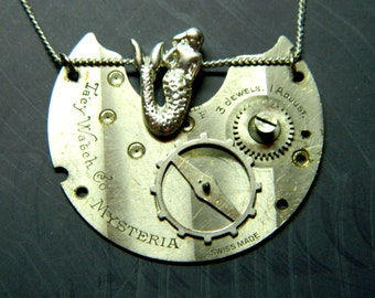 The Little Mermaid Mystery Steampunk jewelry, silver colored steam naiad, undine, water nymph, unique collectible old pocket watch element