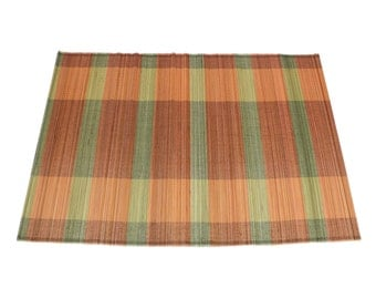 "Striped Orange and Green Bamboo Place Mat 13"" x 19"" set of 4 Home & Kitchen, Home Decor, elegant look, place setting, modern look (BAP0521)"