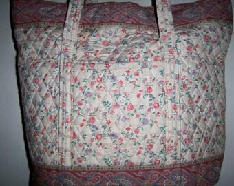 Vintage Rare Vera Bradley Indiana Cream Roses Large Tote Bag! Great Condition!