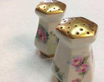 American Belleek Salt & Pepper Hand Painted with Gold Trim c.1891-1894