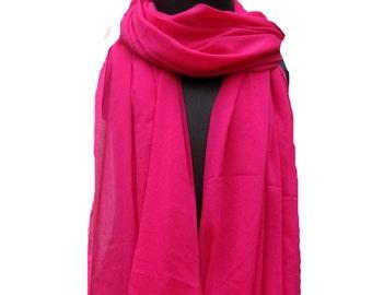 Magenta scarf/ silk scarf/ border scarf / plain scarf/ long scarf/ gift scarf / gift ideas.
