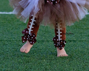Football leg warmers baby girls brown polkadot bows