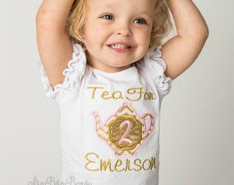 Tea For Two Birthday Shirt - Second Birthday Shirt - Pink And Gold Birthday - Girls Birthday Shirt