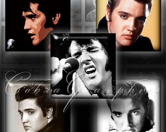 Elvis Presley - Digital Collage Sheets 1.5x1.5 inch squares - Printable Digital Downloads for Jewelry Making, Crafts CG-468S