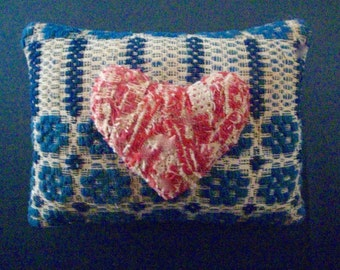 Primitive HEART Folk Art Pillow-Handcrafted from Antique 1800's American Hand Woven Coverlet
