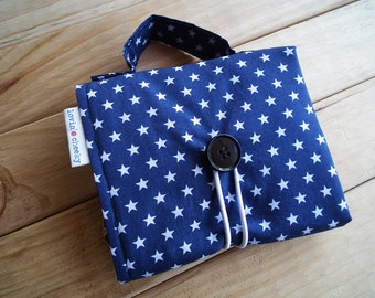 Matchbox Car Play Mat - Navy/White Stars with Yellow/White Stripe Pockets