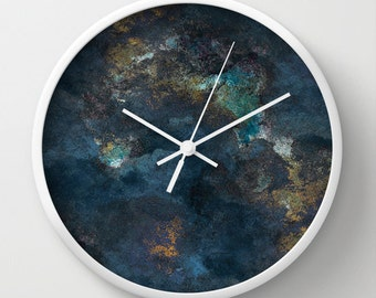 Modern Wall Decor Wall Clock Abstract Navy Teal Gold Contemporary Home Decor Abstract Art