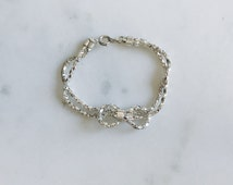 1980's Silver Plated Sailor Knot Diamond Box Link Chain Bracelet 6.5""