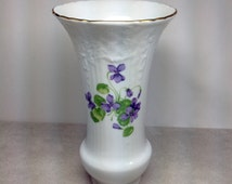 Vintage Kaiser Viola Porcelain Vase Purple Flower Violet Golden Crown E&R West Germany White Gold Trim Wedding Anniversay Gift Table