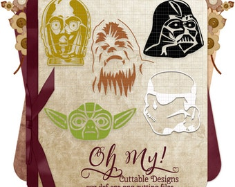Star Wars Characters  Yoda, C3PO, Chewbacca, Darth Vader, Stormtrooper Svg Dxf Eps Png Cutting Files