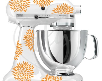 Any color flower mixer decals | Kitchenaid stand up mixer stickers | Floral | Orange | Teal | Red | White | Black