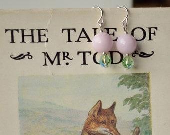 Pink Mountain Jade and Green Swarovski Earrings