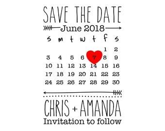 "Wedding Calendar Stamp, custom names and date stamp, wedding stamp, invitations stamp, card stamp, DIY bride stamp, 2""x3"" (cstd23)"